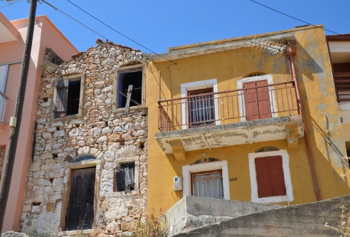 My great-great-grandmother's house (left) and my great-grandmother's house (right) in Tholopotami, Chios, Greece