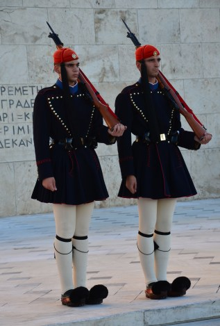 Evzones at the Tomb of the Unknown Soldier in Athens, Greece