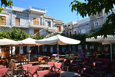 Square in Pyrgi, Chios, Greece