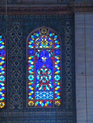 Stained glass window of the Sultan Ahmet Camii (Blue Mosque) in Fatih, Istanbul, Turkey