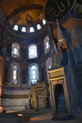 Altar and minbar at Hagia Sophia in Istanbul, Turkey