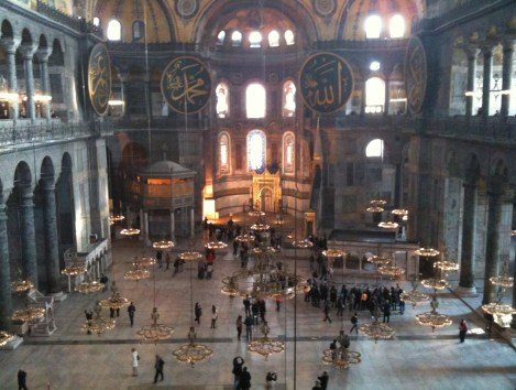 View from the Empress' Loge (without scaffolding) at Hagia Sophia in Istanbul, Turkey
