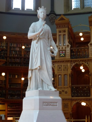 Statue of Queen Victoria in the Library of Parliament at Parliament Centre Block in Ottawa, Ontario Canada