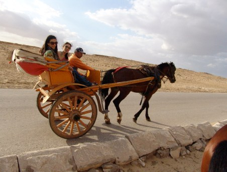 Dana and Maria on a carriage at the Pyramids of Giza in Egypt