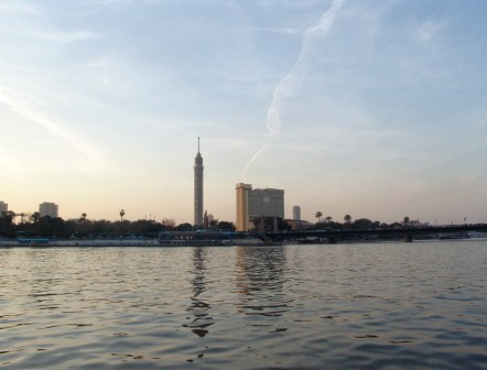 Cairo Tower on a Felucca ride in Cairo, Egypt