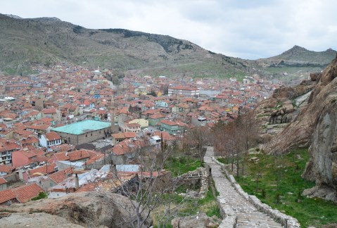 The view on the way up to Afyon Kalesi in Afyon, Turkey