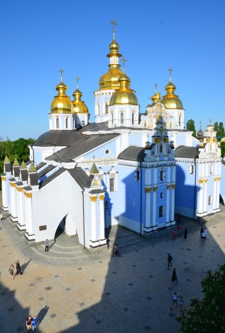 View of St. Michael's Golden-Domed Cathedral from the bell tower at St. Michael's Golden-Domed Monastery in Kiev, Ukraine