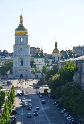 View of St. Sophia Cathedral from the bell tower at St. Michael's Golden-Domed Monastery in Kiev, Ukraine