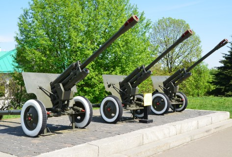 Cannons at the National Museum of the History of Ukraine in the Second World War Memorial Complex in Kiev, Ukraine