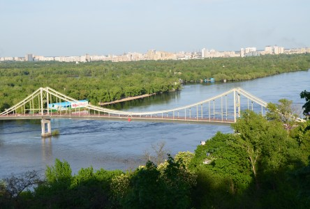 View of the Dnipro River at Volodymyr's Hill in Kiev, Ukraine