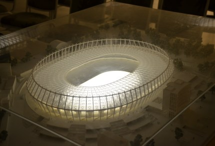 Stadium model in the gallery at Olimpiyskiy National Sports Complex in Kiev, Ukraine