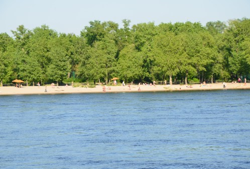 Beach on the Dnipro River cruise in Kiev, Ukraine