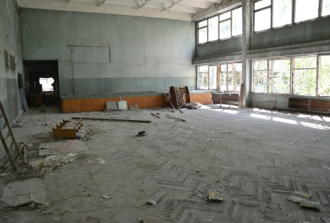 Performance hall at Middle School #5 in Pripyat, Chernobyl Exclusion Zone, Ukraine