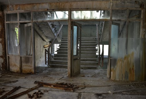 Stairway at Middle School #5 in Pripyat, Chernobyl Exclusion Zone, Ukraine