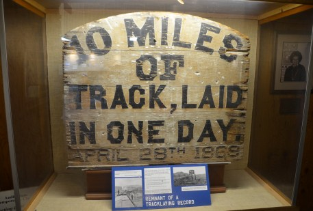 Original sign at the visitor center at Golden Spike National Historic Site, Promontory Summit, Utah