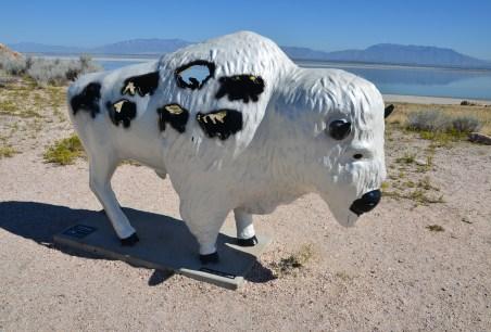 Bison sculpture at Antelope Island State Park in Utah