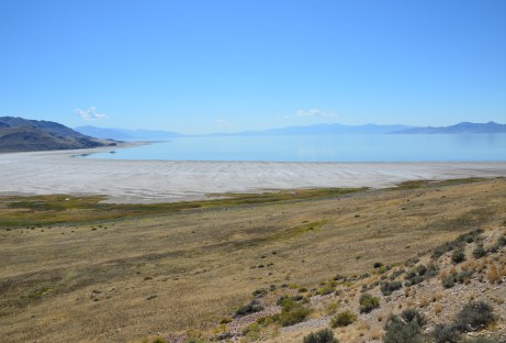View of White Rock Bay from Buffalo Point at Antelope Island State Park in Utah