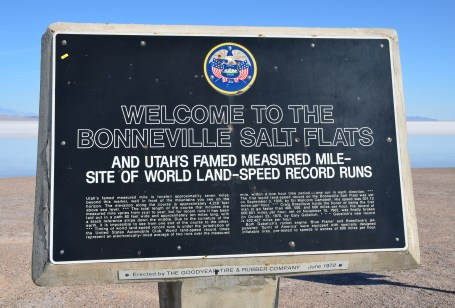 Welcome sign at the Bonneville Salt Flats in Utah