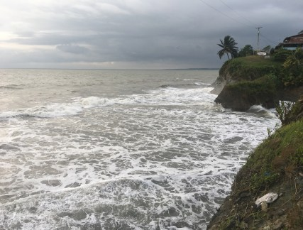 The beach at high tide in Ladrilleros, Valle del Cauca, Colombia