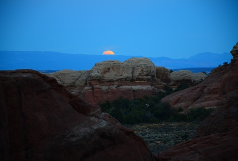 Blood moon on the Devil's Garden Trail at Arches National Park in Utah