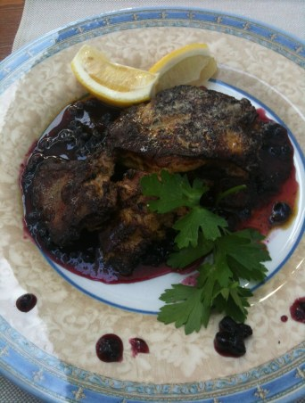 Goose liver in a blueberry sauce at Boulevard in Burgas, Bulgaria