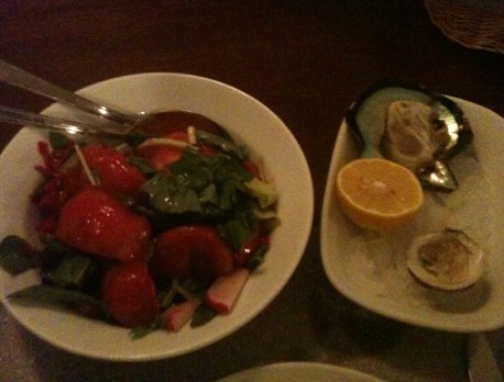 Salad, clam, and oyster at Orfoz in Bodrum, Turkey
