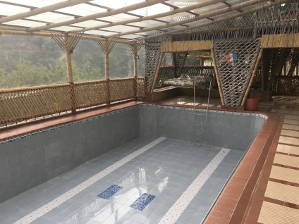 Swimming pool at the bamboo house near Anserma, Caldas, Colombia