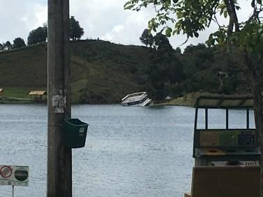 Sunken tour boat in Guatapé, Antioquia, Colombia