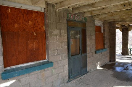 Entrance of the Las Vegas and Tonopah Depot in Rhyolite, Nevada