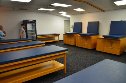 Visitor's locker room at Soldier Field in Chicago, Illinois