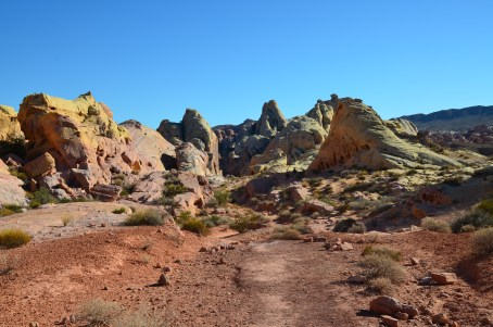 View of the desert on the White Domes Trail at Valley of Fire State Park in Nevada