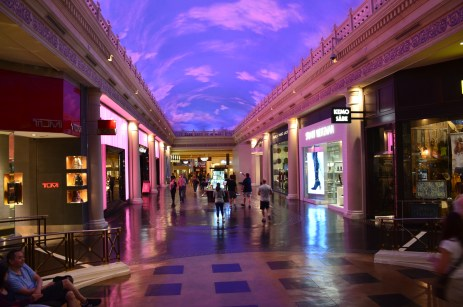 Under a blue sky at the Forum Shops at Caesar's Palace in Las Vegas, Nevada