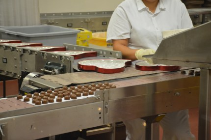 Boxing chocolates on the Ethel M Chocolate Factory tour in Henderson, Nevada