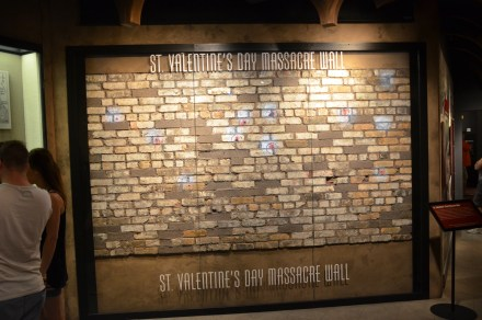 St. Valentine's Day Massacre wall at the Mob Museum in Las Vegas, Nevada