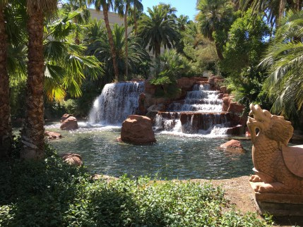 Along the path to the entrance at the Mirage in Las Vegas, Nevada