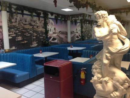 Dining area at the Mad Greek Café in Baker, California