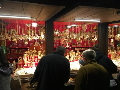 Handmade wooden ornaments at Christkindlmarket in Chicago, Illinois