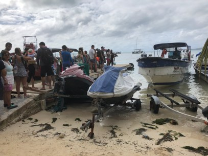 Getting on the boat in San Andrés, Colombia