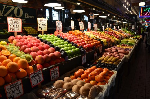 Colorful fruits and vegetables at Pike Place Market in Seattle, Washington