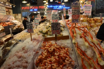 Fresh seafood at Pike Place Market in Seattle, Washington