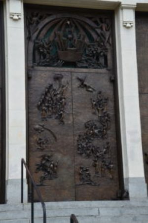 Doors at St. James Cathedral in Seattle, Washington