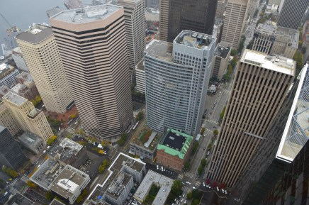 Looking down from Columbia Center in Seattle, Washington
