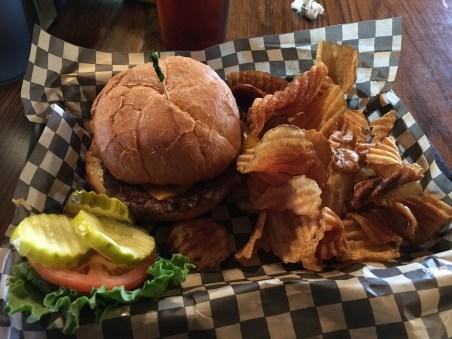 Buffalo burger at Fire Mountain Grill in Toutle, Washington