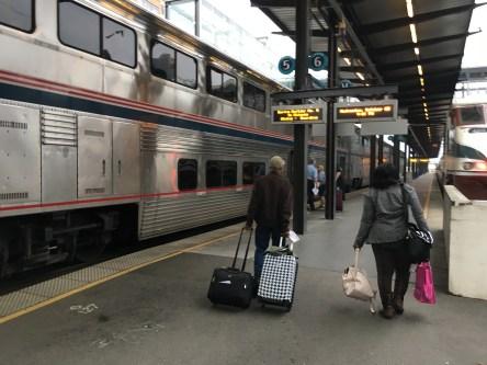 Walking to the train at King Street Station in Seattle, Washington