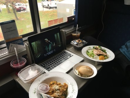 Lunch in the cabin on the Amtrak Empire Builder from Seattle to Chicago