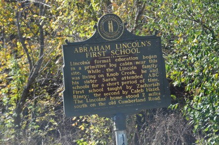 Lincoln's first school historical marker near Abraham Lincoln Birthplace National Historical Park in Kentucky