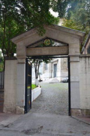 Side gate at Agia Triada Greek Orthodox Church in Istanbul, Turkey