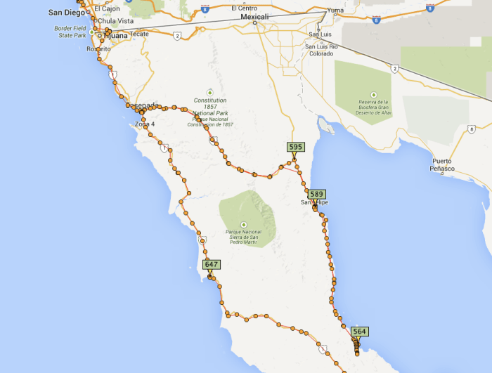 This is a screenshot of my Personal Locator Beacon (PBL) tracks through Baja California on Spotwalla. We attempted to reach Coco's Corner and MX1 from San Felipe on MX5 but had to turn back.
