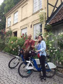 Henrik and I, cycling through Oslo