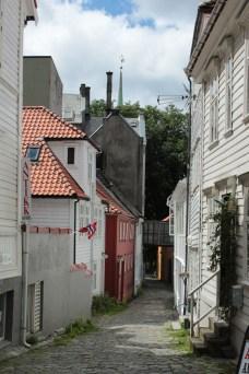 Wandering down narrow streets in Bergen